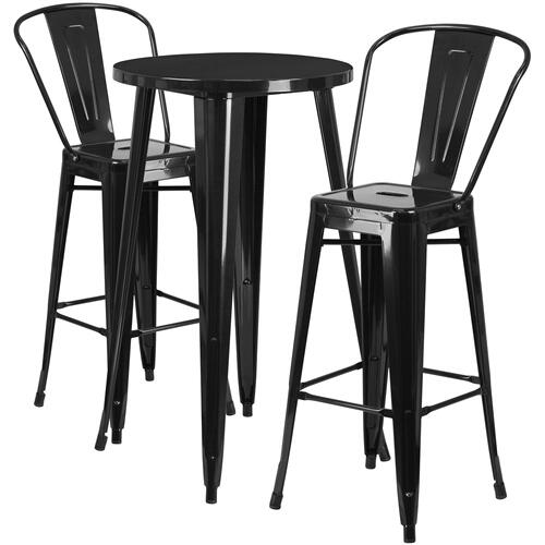 Alamont Furniture - 24'' Round Black Metal Indoor-Outdoor Bar Table Set with 2 Cafe Stools