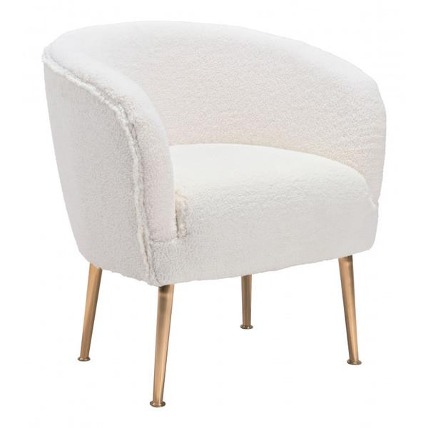 Sherpa Accent Chair Beige & Gold