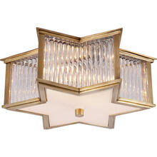 View Product - Alexa Hampton Sophia 2 Light 14 inch Natural Brass with Clear Glass Flush Mount Ceiling Light in Natural Brass and Clear Glass