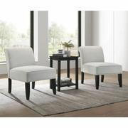 ACME Genesis II 3Pc Pack Chair & Table - 59843 - Cloud Gray Linen & Black Product Image