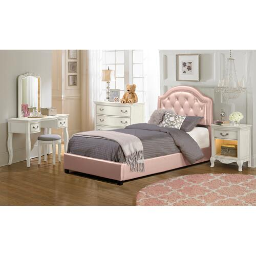 Karley Complete Full-size Bed, Pink Faux Leather