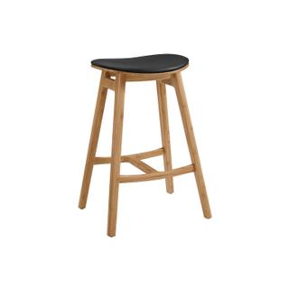 See Details - Skol Bar Height Stool With Leather Seat, Caramelized, (Set of 2)