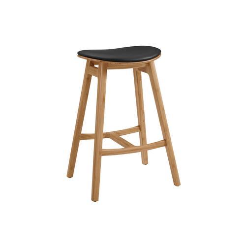 Greenington Fine Bamboo Furniture - Skol Bar Height Stool With Leather Seat, Caramelized, (Set of 2)