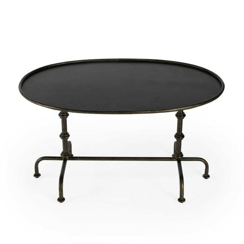 Butler Specialty Company - For those that dare to be different comes this distinctive metal coffee table. Constructed from steel and aluminum, it features a striking base of turned posts and a pipe-effect base with six feet in a textured pewter finish.