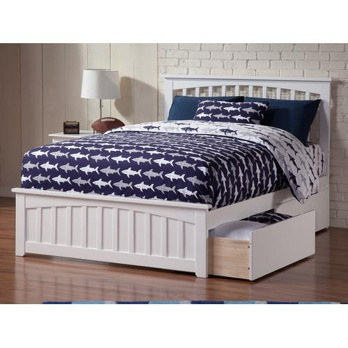 Mission Full Bed with Matching Foot Board with 2 Urban Bed Drawers in White