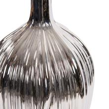 View Product - Metallic Silver Ribbed Ceramic Bottle Vase
