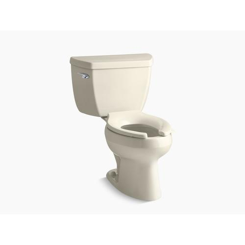 Almond Two-piece Elongated 1.0 Gpf Toilet With Tank Cover Locks, Less Seat
