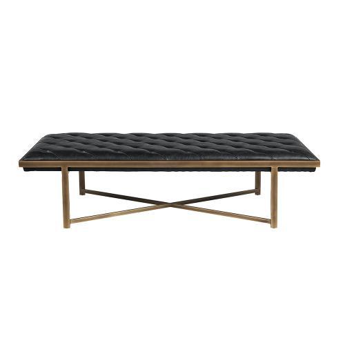 Sunpan Modern Home - Kayla Bench - faux leather: vintage black