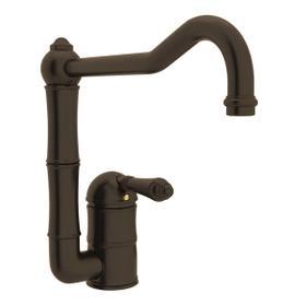 Acqui Single Hole Column Spout Kitchen Faucet - Tuscan Brass with Metal Lever Handle