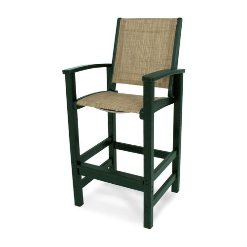 Green & Burlap Coastal Bar Chair