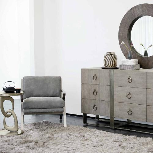 Gallery - Linea Round Mirror in Cerused Charcoal (384)