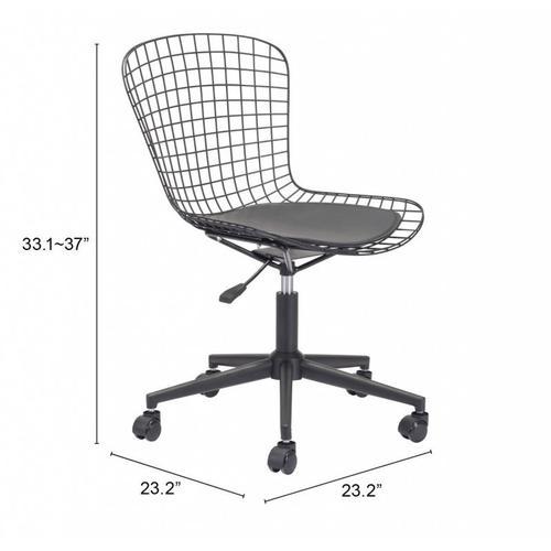 Zuo Modern - Wire Office Chair Black & Black Cushion