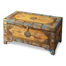 Intricately designed with brass inlays and blue and gold hand painting, this unique storage trunk has a vintage feel. Handcrafted from mango wood solids, it has a hinged lid that opens for spacious interior storage.