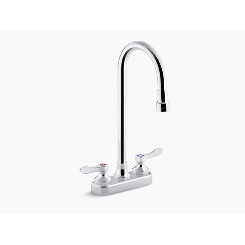 Polished Chrome 1.0 Gpm Centerset Bathroom Sink Faucet With Aerated Flow, Gooseneck Spout and Lever Handles, Drain Not Included