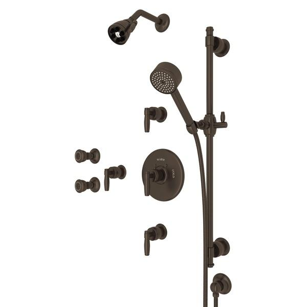 Tuscan Brass ZEPHYR THERMOSTATIC SHOWER PACKAGE with Metal Lever Zephyr Series Only