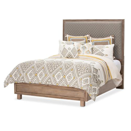 Cal King Diamond-quilted Panel Bed 3pc (gray Fabric)