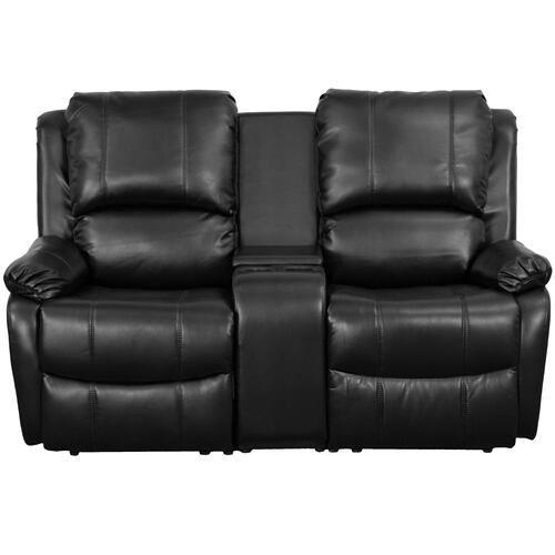 2-Seat Reclining Pillow Back Black Leather Theater Seating Unit with Cup Holders