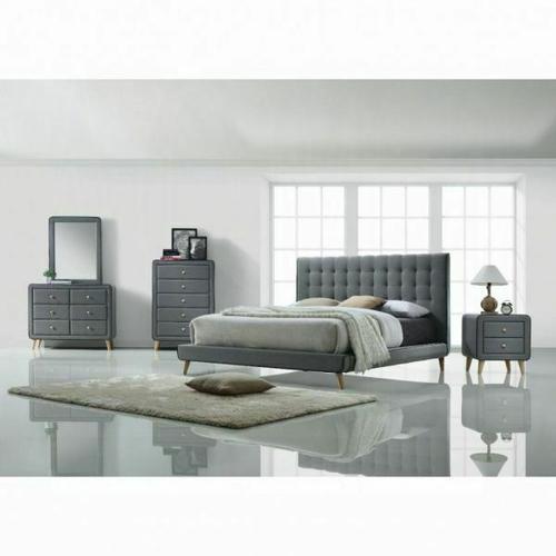 ACME Valda Queen Bed - 24520Q - Light Gray Fabric