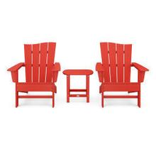 View Product - Wave 3-Piece Adirondack Chair Set in Sunset Red