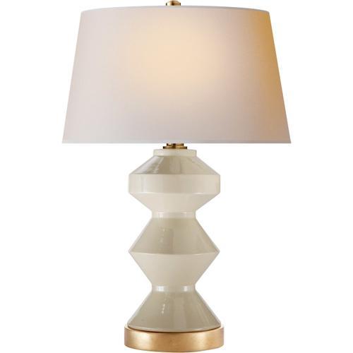 Visual Comfort - E. F. Chapman Weller Zig-zag 27 inch 150.00 watt Coconut Porcelain Table Lamp Portable Light, E.F. Chapman, Zig-Zag, Natural Paper Shade