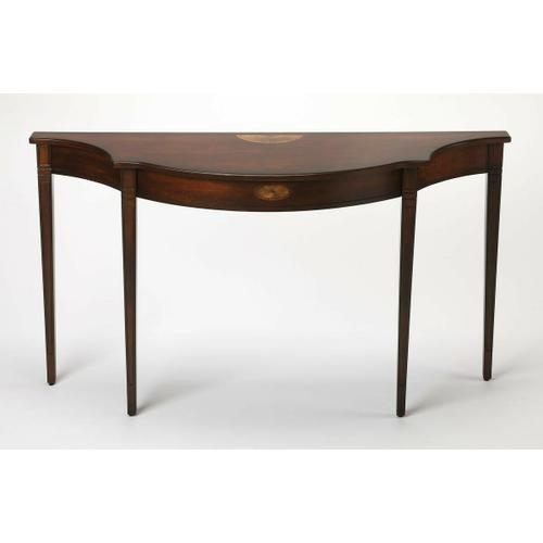 Butler Specialty Company - This Pembroke-inspired console is highly elegant, yet unpretentious. Ideal in a hallway, foyer or entryway, it is crafted from rubberwood solids and wood products featuring beautiful curves with a cherry veneer top, linen-fold inlay patterns of maple and walnut veneers on both the top and apron front, all in a rich Plantation Cherry finish.