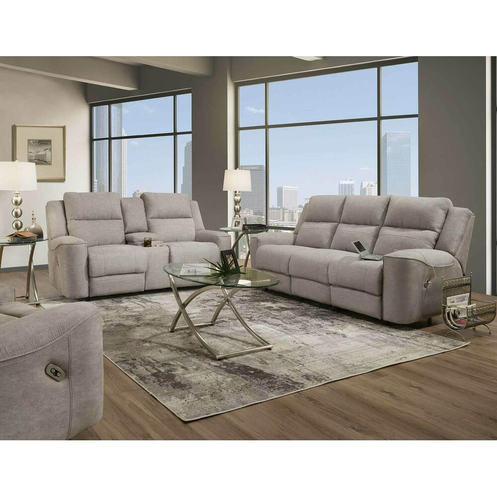Dual Power Reclining Console Loveseat w/Lights/Lighted Cupholders/USB