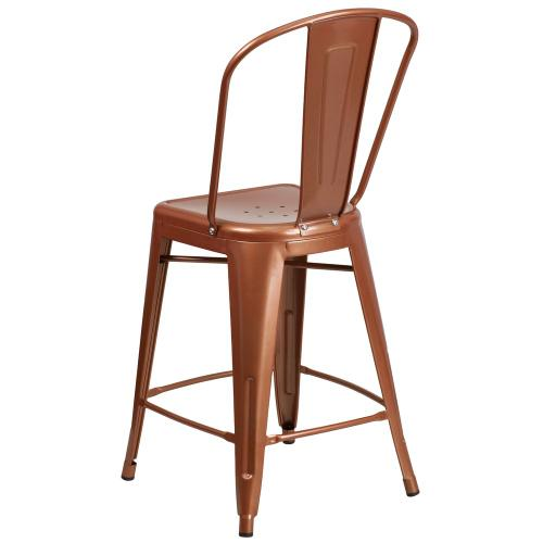 24'' High Copper Metal Indoor-Outdoor Counter Height Stool with Back