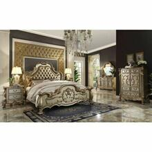 ACME Dresden Eastern King Bed - 23157EK - Bone PU & Gold Patina