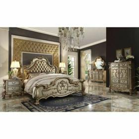 ACME Dresden Eastern King Bed - 23157EK - Bone PU & Gold Patina
