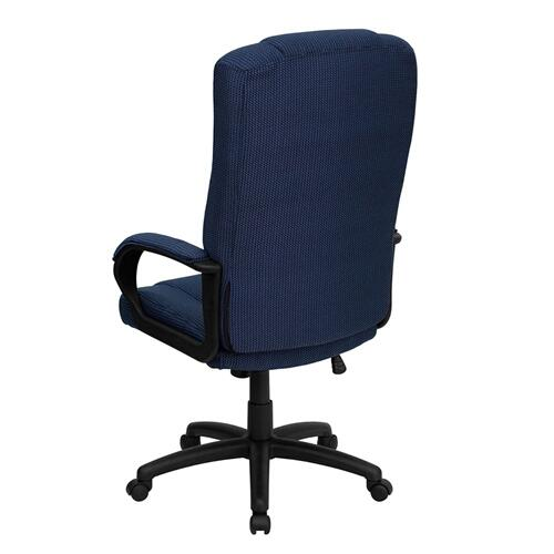 High Back Navy Blue Fabric Executive Swivel Chair with Arms