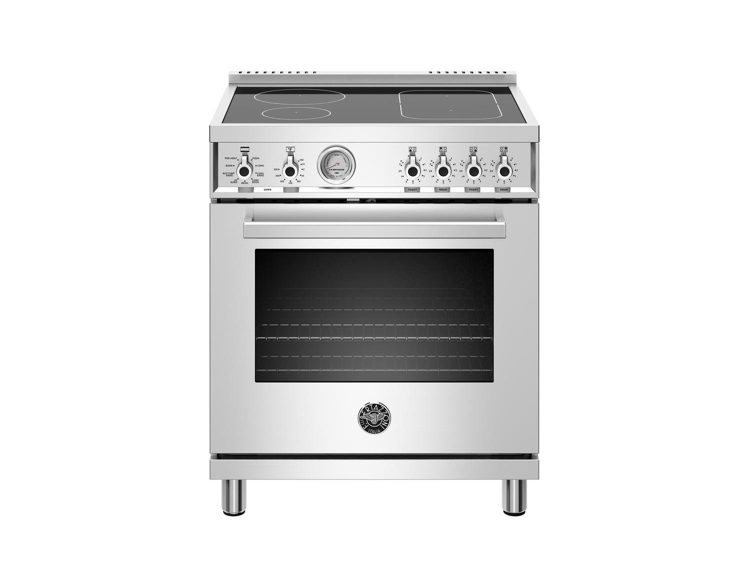 Bertazzoni30 Inch Induction Range, 4 Heating Zones, Electric Oven Stainless Steel