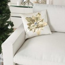 "Holiday Pillows L9966 White/gold 16"" X 16"" Throw Pillow"