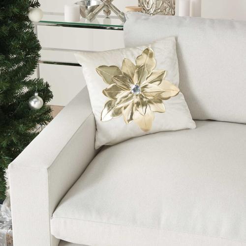 "Holiday Pillows L9966 White/gold 16"" X 16"" Throw Pillow"