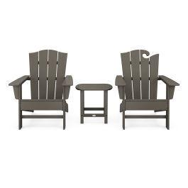 Polywood Furnishings - Wave Collection 3-Piece Set in Vintage Coffee