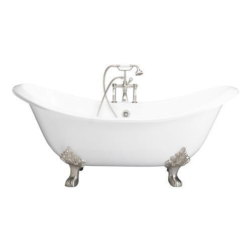 """Marshall 71"""" Cast Iron Double Slipper Tub Kit - Brushed Nickel Accessories"""
