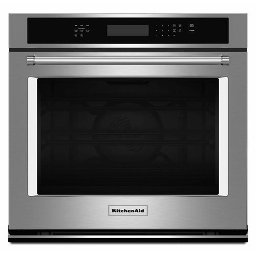 """KitchenAid - 27"""" Single Wall Oven with Even-Heat™ True Convection - Stainless Steel"""