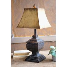 See Details - black wooden table lamp with antique gold metal shade