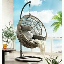 ACME Vinnie Patio Swing Chair with Stand - 45088 - Fabric & Wicker