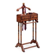 This elegant valet is a must for anyone with a flair for fashion. Hand crafted from solid hardwood, it features a scuptured wood hanger, ideal for a jacket, shirt or blouse; pants hanger, two drawers with antique brass finsihed hardware; and a top storage shelf.
