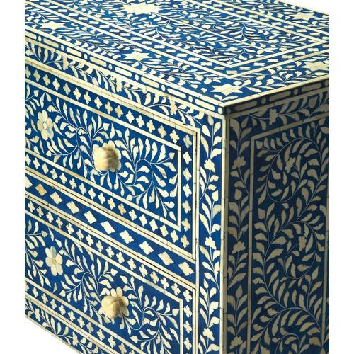 Butler Specialty Company - This dazzling two-drawer chest speaks of centuries-old tradition and craftsmanship. Painstakingly handcrafted with beautiful bone inlay veneers on native wood solids and wood products, it features hand cut and formed vine patterned elegance, with complementary drawer pulls, against a blue colored background. Variations in bone inlay create unique character in each hand-created masterpiece.
