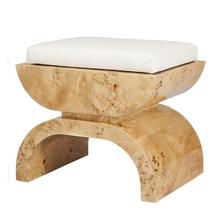 "Burl Wood Stool With A White Linen Cushion. Cushion Measurements: 20""h X 18""w X 14""d"