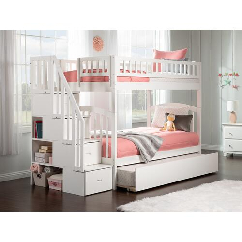 Atlantic Furniture - Westbrook Staircase Bunk Bed Twin over Twin with Urban Trundle Bed in White