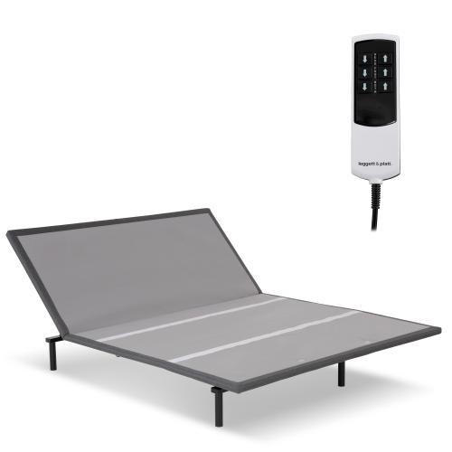 Leggett and Platt - Bas-X 2.0 Low-Profile Adjustable Bed Base with Head Articulation and MicroHook Technology, Charcoal Gray, Queen