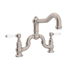 Satin Nickel Acqui Deck Mount Column Spout Bridge Kitchen Faucet with Porcelain Lever