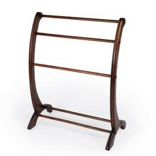 See Details - This charming transitional blanket stand is a practical addition in any living room, bedroom, or bathroom. Made from rubberwood and poplar hardwood solids, it boasts arched side supports with hand-carved appointments in a vibrant Plantation Cherry finish. The horizontal rails are ideal for hanging blankets, quilts, bedspreads or towels in the bathroom.