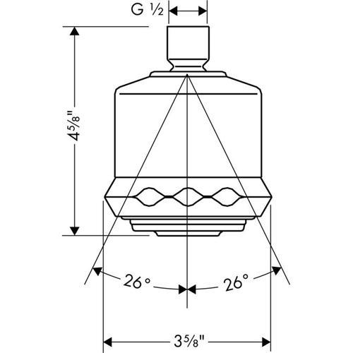Polished Brass Showerhead 3-Jet, 2.5 GPM