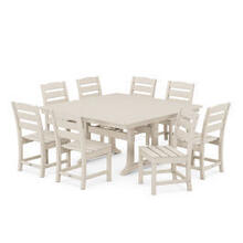 View Product - Lakeside 9-Piece Farmhouse Trestle Dining Set in Sand