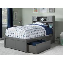 Newport Twin Flat Panel Foot Board with 2 Urban Bed Drawers Atlantic Grey