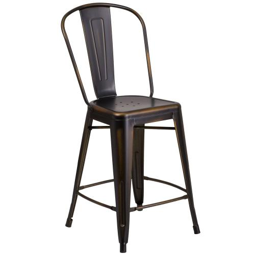 24'' High Distressed Copper Metal Indoor-Outdoor Counter Height Stool with Back