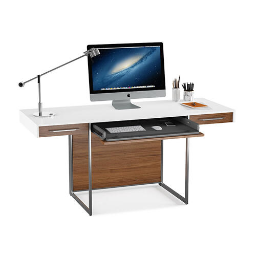 Desk 6301 in Natural Walnut Satin White